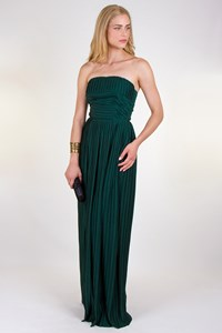 Les Satinees Forest Green Strapless Maxi Dress