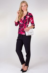 DVF Jill Black Printed Wrap Top with Flowers