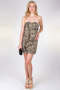 Harris Mitsiopoulos Animal-Print Strapless Dress