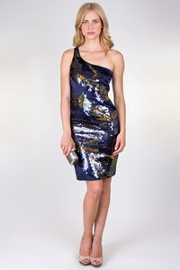 Karen Millen Blue Silk Sequin Dress