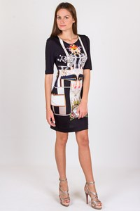 Mary Katrantzou Black Printed Silk Dress