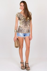 Just Cavalli Printed Jersey Top with Hoop Detail