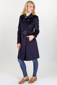Arte Dark Blue Wool Coat with Removable Belt