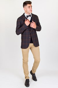 Caruso Brown-Blue Plaid Wool Blazer