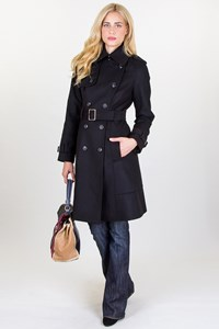 Karen Millen Black Coat with Military Details