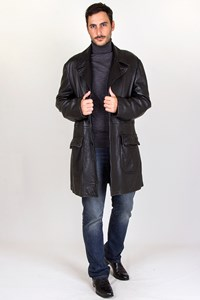 Armani Collezioni Black Leather Coat / Size: 56 - Fit: XXL