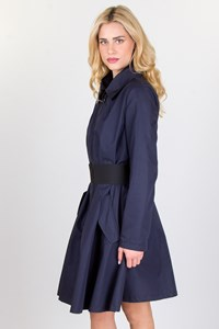 Navy Blue Cotton-Blend Overcoat