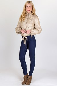 Moschino Jeans Golden-Beige Βomber Jacket with Hidden Hood