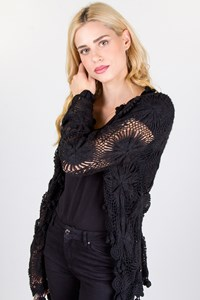 Galliano Black Knitted Crochet Cardigan
