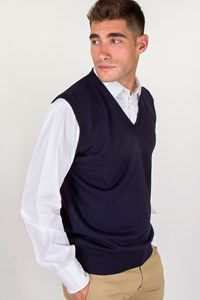 Carouzos Navy Blue Wool Vest / Size: 54 - Fit: M