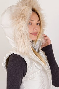 Juicy Couture White Hooded Puffer Vest