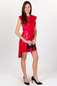 Christoforos Kotentos Red Leather Asymmetric Dress