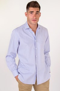 Caruso per Carouzos Ciel-White Striped Cotton Shirt / Size: 16-41 - Fit: M