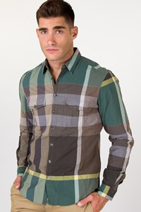 Burberry Brit Men's Check Shirt in Green-Brown Shades / Size: M - Fit: True to size