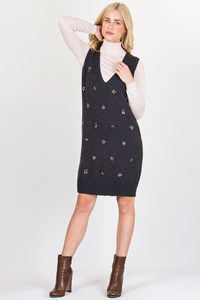 Grey Cashmere Knitted Dress with Crystals