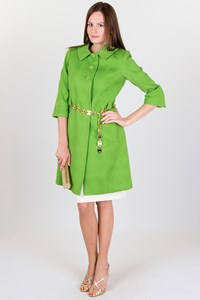 Milly Green Brocade Coat with Gold Belt