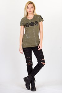 A&G Rock and Roll Couture Khaki Cotton T-shirt / Size: S