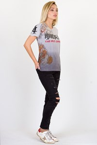 The Great China Wall Grey Graduated T-shirt Crystal Embellished / Size: S