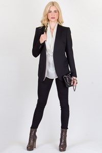 Helmut Lang Black Wool Smoking Tuxedo Blazer