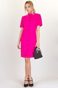 Therese Baumaire Fuchsia Crepe Button Dress / Size: 40 FR