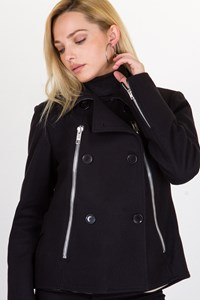 Golden Goose Black Coat with Decorative Zippers / Size: M