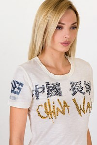 The Great China Wall Ecru Handmade T-shirt / Size: One Size