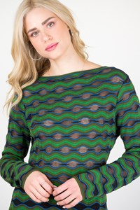M Missoni Multicoloured Zig Zag Knitted Blouse / Fit: S