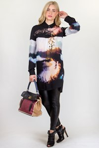 Mary Katrantzou Black Printed Shirt Dress / Fit: S