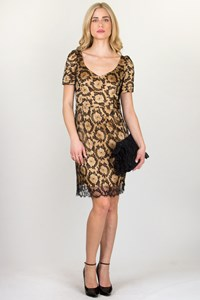Jasmine di Milo Gold-Black Lace Dress / Fit: M