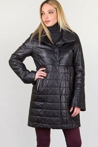 Schatzi Luxury Black Quilted Leather Coat / Fit: S