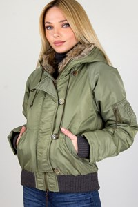 Pinko Khaki Bomber Jacket with Removable Fur Hood Lining / Size: 42 IT