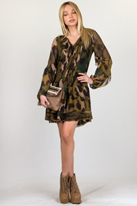 DVF Weiss Camouflage Silk Dress / Fit: Small