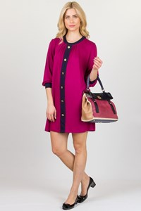 Tbags Los Angeles Magenta Faux-Button Knitted Dress / Fit: Medium