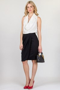 Valentino Roma Black Draped Skirt / Size: 44 IT