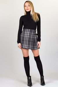 Burberry Brit Grey Wool Checked Skirt / Size: S