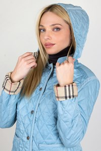 Burberry London Light Blue Quilted Jacket / Fit: S