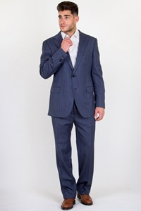 Uman Raf Blue Striped Wool Suit / Fit: M/L