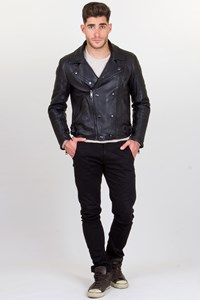 Burberry Brit Black Leather Biker Jacket / Fit: M