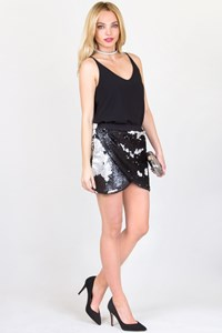 Handmade Black and Silver Sequin Skirt / Fit: S