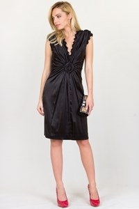 Roberto Cavalli Black Silk Draped Dress / Size: 42 IT
