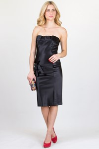 Gucci Black Strapless Satin-Look Dress / Size: 42 IT
