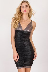 Hervé Leger Black-Βronze Μetallic Βandage Dress / Fit: S/M