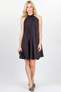 Lanvin Black Dress with Crystal-Embellished Collar / Size: 38 FR