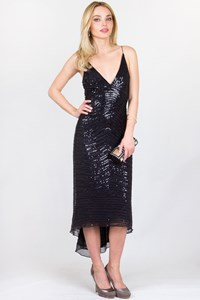 Jenny Packham Black Asymmetric Dress with Sequins / Size: 8 UK