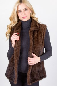 Caroline Brown Mink Fur Vest / Fit: M