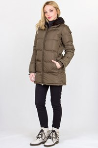 Prada Sport Oil Green Puffer Jacket with Fur and Hood / Size: 38 IT