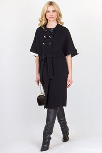 Mi-Ro Black Cardi Coat with White Details / Fit: M