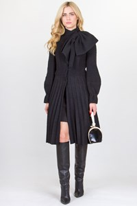 Emporio Armani Black Wool Pleated Coat with Decorative Bow Collar / Fit: M