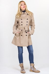 Aquascutum Beige Cotton Trench Coat with Straps / Fit: S