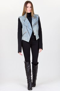 Alexander Wang Denim-Coloured Leather Jacket with Removable Sleeves / Fit: XS-S